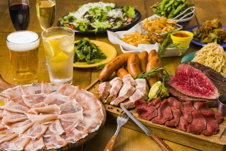 生ハムもローストビーフも食べ放題になる肉づくしプラン